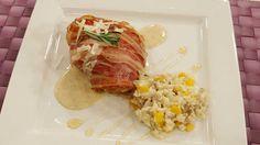Pollo asado con risotto de setas