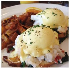 Lobster Benedict. A delicious creamy sauce with steamed lobster. Cause he's gna be hungry after mini season