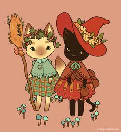 """jetgreguar: """"strangelykatie: """" still thinkin about witches I guess! I would like to do a very small cute comic with these two! """" i wanna be a witch and do witch things with them. Art And Illustration, Pretty Art, Cute Art, Character Inspiration, Character Art, Bel Art, Art Mignon, Witch Cat, Dibujos Cute"""