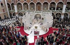 The main courtyard of the royal palace was turned into an open-air cathedral for the day of Prince Albert II of Monaco's wedding to South African beauty Charlene Wittstock on 2 July 2011.