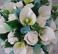 Turquoise Wedding Flowers | ... ROSES  CALA LILIES WITH TURQUOISE RIBBON, ARTIFICIAL WEDDING FLOWERS
