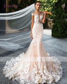 Loverxu Romantic Scoop Neck Backless Princess Mermaid Wedding Dress 2017 Gorgeous Appliques Robe De Mariage Bride Gown Plus Size