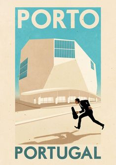 ✈ Porto, Portugal Poster by Rui Ricardo, illustrator. We love the vintage-feel of all of his travel posters. ✈