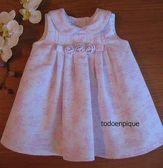 TODO EN PIQUE para bebe Sewing Kids Clothes, Cute Baby Clothes, Baby Sewing, Baby Girl Frocks, Frocks For Girls, Little Girl Summer Dresses, Flower Girl Dresses, Toddler Dress, Baby Dress