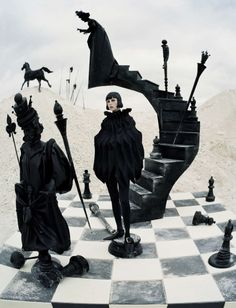 CHECK MATE - model: Edie Campbell - photographer: Tim Walker - fashion editor: Jacob K - hair: Shon Ju - makeup: Miranda Joyce - set design: Shona Heath - Vogue Italia December 2015