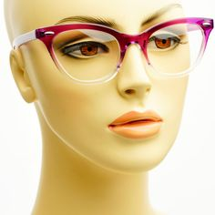 Sleek Modern Reading Style Half Tinted Clear Lens Cat Eye Glasses Frames Purple