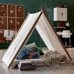 IKEA - make your own tipi tent! Teepee Diy, Kids Teepee Tent, Teepees, Diy Zelt, Indoor Forts, Boy Room, Kids Furniture, Diy For Kids, Kids Bedroom