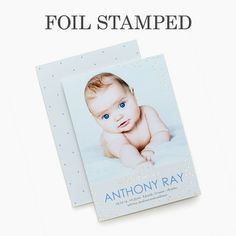 Spectacular Intro - #Foil Stamped Boy Birth Announcement - Magnolia Press - Lapis Blue #baby