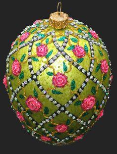Edward Bar ROSE TRELLIS EGG glass Christmas ornament Handmade in Poland