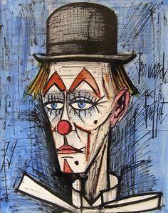 Clown sur fond bleu, 1979  Bernard Buffet  Watercolor and ink on paper 25,6 x 19,7 in.