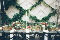 Courtyard reception with bring centerpieces