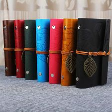 Vintage Notebook Diary String Leaf Travel  Leather Paper Journal Book Sketchbook