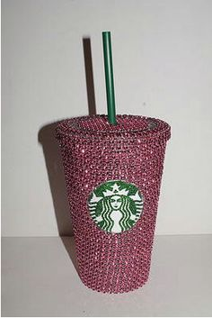 Pink Crystal Starbucks Cold Cup by TheFawnDoe on Etsy, $33.00