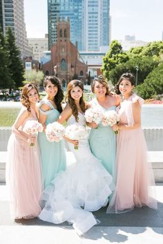 photo: Jasmine Lee; The color of these bridesmaid dresses are so pretty!