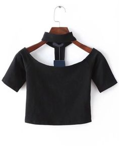 Shop Black Cutout Choker Neck Crop T-shirt online. SheIn offers Black Cutout Choker Neck Crop T-shirt & more to fit your fashionable needs.