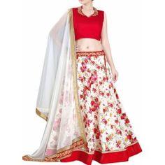 Lashkaraa Red and White Floral Lehenga