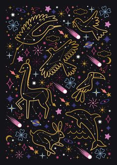 Carly Watts Illustration: Animal Constellations #space #stars #constellations #comet #shootingstar