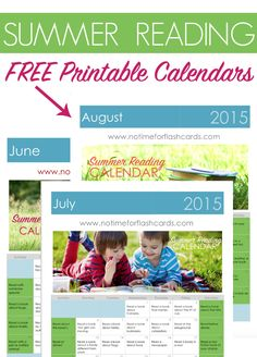 FREE Printable Summer Reading Calendars. Each day has a different reading activity, prompt, or suggestion for a book. Print these out and use it as a chart all summer long!