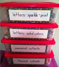 Shoeboxes with name plates for bulletin board letters and pieces