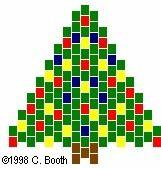 Christmas tree pattern for peyote beading. Pattern also for brick stitch tree & brick stitch Santas.
