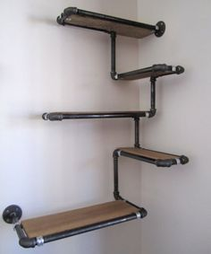 pipe wall shelf with reclaimed wood custom shelves made to order corner and black or galvanized iron furniture b