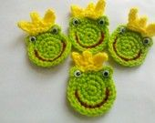 4 Crochet frog froggie Appliques Handmade. $5.95, via Etsy.