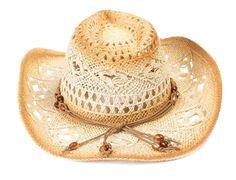 Ladies Womans Cap Medium Brim Crochet Cowboy Straw Hat with Strap #AMC #ST023