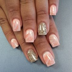 Marbled and glitter nails