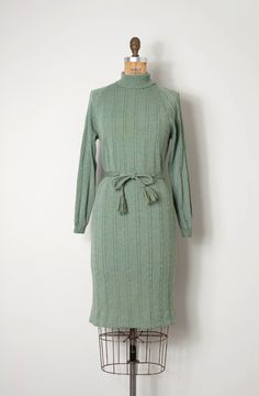 vintage 1960s sweater dress / ribbed knit 60s dress by SwaneeGRACE