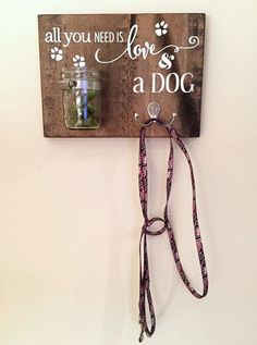 Adorable dog treat/leash holder sign by My World of Crazy Fun.