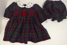 B.T. Kids Dress Sz 6-9 Months Smocked Red Green Blue Plaid White Collar #BTKids #SmockedDress #CasualFormal