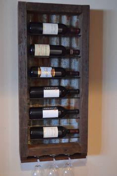 Reclaimed barnwood - with rusted barn wood tin made from barn wood roofs Wood Wine Racks, Wine Rack Wall, Wine Bottle Holders, Glass Holders, Pallet Wine, Barn Wood Projects, Wine Decor, Diy Pallet Furniture, Reclaimed Barn Wood