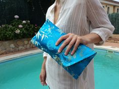 BLUE and GOLD CLUTCH bag blue clutch purse slim by CarrotaShop