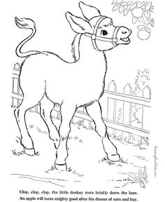 Donkey coloring pages - Farm animals