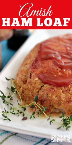 """Amish Ham Loaf Recipe by Renee's Kitchen Adventures- Ground Ham and ground pork combine to make a """"meat""""loaf different from anything you've ever had! Great way to use up leftover ham! Pork Meatloaf, Meatloaf Recipes, Pork Recipes, Gourmet Recipes, Cooking Recipes, Amish Meatloaf Recipe, Fall Recipes, Amish Ham Loaf Recipe, Amish Recipes"""