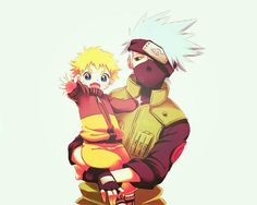 Kakashi and Naruto. I wonder if Kakashi ever watched him as a kid. I could see Naruto getting passed from one ninja to another. Kakashi a Dad...what?
