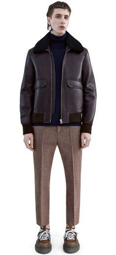 Abel classic leather bomber jacket has a detachable shearling collar #AcneStudios #FW15 #menswear