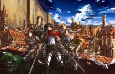 """A great bit of fan art featuring the female lead characters from """"Attack on Titan"""" (""""Shingeki no Kyojin"""")"""
