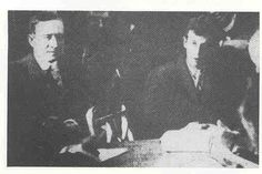 Marconi (left) & Harold Bride (right) at the US Enquiry....Junior wireless officer Harold Sidney Bride was one of the two Titanic's Radio Operators.    He kept a very low profile in the years following the disaster.