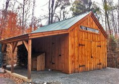 One Bay Garage 14' x 20'. Optional 8' x 20 overhang + 8' double barn doors. Available as a kit (estimated assembly time - 2 people, 30 hours) or as diy plans $39.95. #postandbeamgarages http://jamaicacottageshop.com/shop/one-bay-garage/ http://cdn.jamaicacottageshop.com/wp-content/uploads/pdfs/pdf14x20onebaygarage.pdf