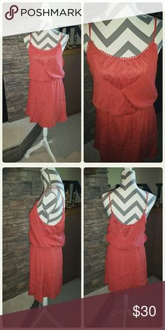 **Coral Linen Dress** Like new, adjustable straps and beautiful lace accents. Daytrip Dresses