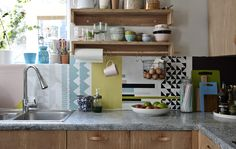 A kitchen with a colourful splashback