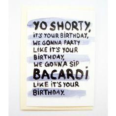 """Geburtstagskarte für ein Hip-Hop begeistertes Geburtstagskind. Die ersten Zeilen des Songs """"In da club"""" von 50 Cent."""
