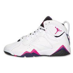 d765adf875aba2 Air Jordan 7 Retro Girls White Fireberry-Black-Night Blue ❤ liked on