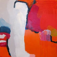 """""""Inquiring Mind"""" by Claire Desjardins. 30""""x30"""" - Acrylics on canvas. Private collection."""