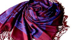 "Wide and long scarf 71 ""x 27"". of the double-sided fabric. beautiful combination of purple and dark blue. Shiny and very soft."