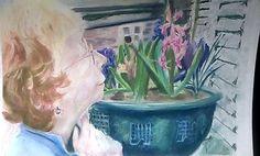 Margaret and hyacinths JR16- pastel