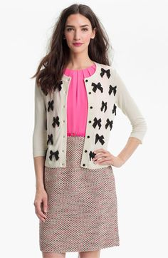 kate spade new york 'ruthie' cardigan available at #Nordstrom White cardigan and black ribbon appliques.