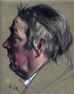Adolph von Menzel (1815-1905) - Pastel - Head of a Man in Profile