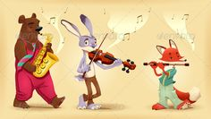 Musician animals.  #GraphicRiver         Musician animals. Cartoon and vector illustration.  	 Folder contains:  	 EPS file; High Resolution JPG file.     Created: 9February13 GraphicsFilesIncluded: JPGImage #VectorEPS Layered: Yes MinimumAdobeCSVersion: CS Tags: animal #band #bear #character #color #fable #fairy #flute #fox #hare #illustration #mammal #mascot #music #orchestra #rabbit #recorder #sax #story #vector #violin #violinist #wild #wood